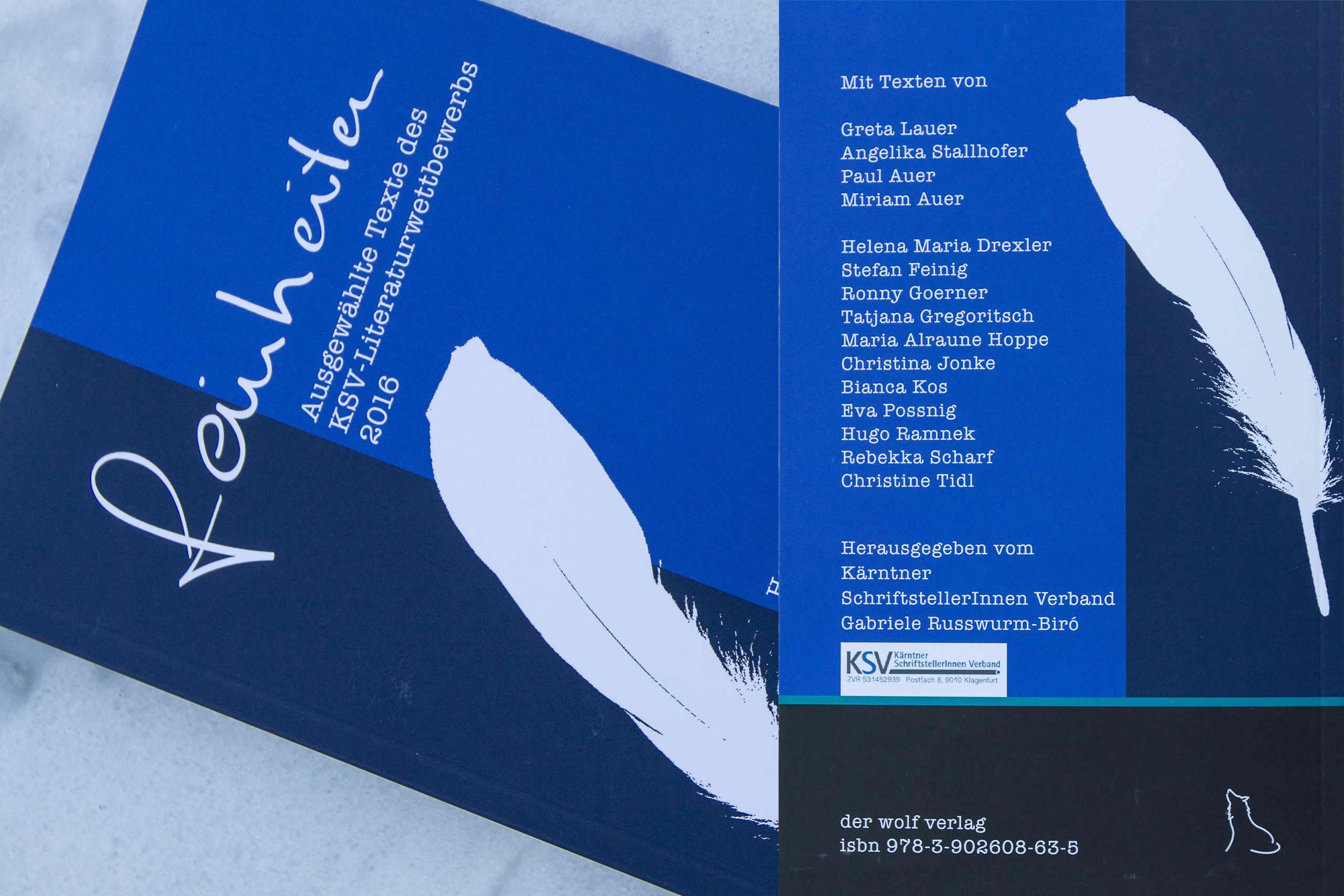 Feinheiten | Ausgewählte Texte des KSV-Literaturwettbeerbs 2016 | der wolf verlag 2017